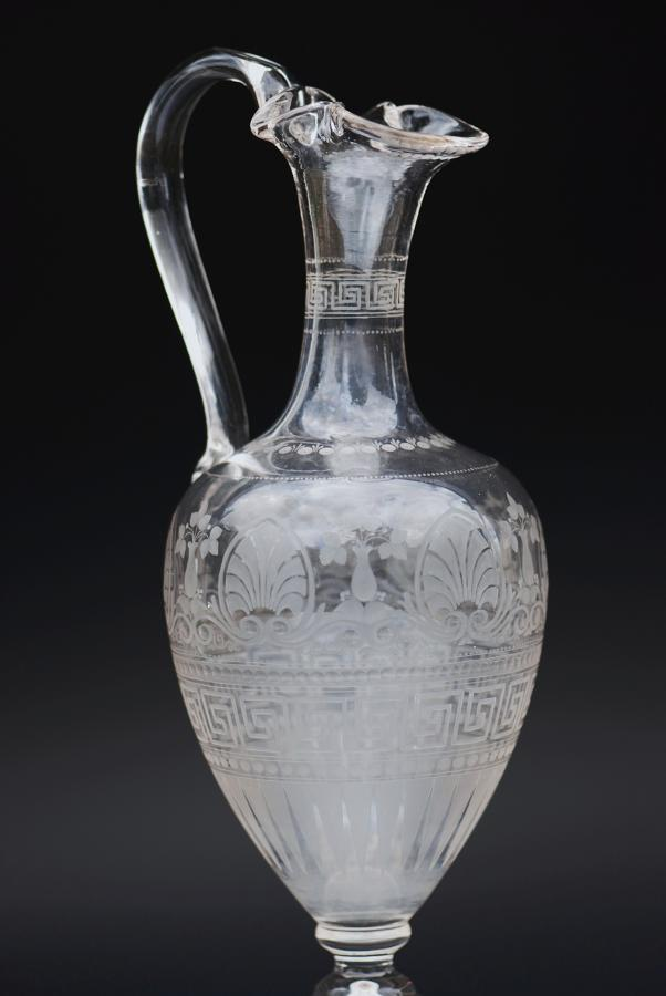 19thc Amphora acid-etched claret decanter