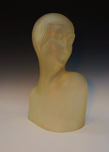 Art Deco French glass female bust