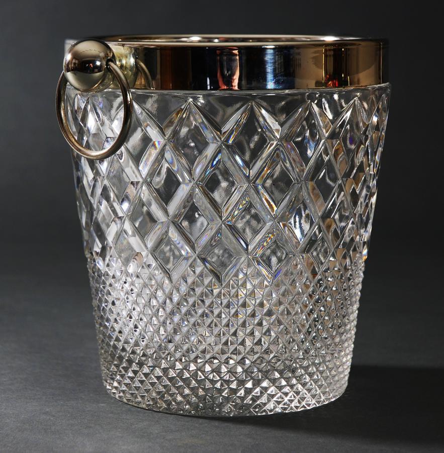 Diamond cut glass ice bucket