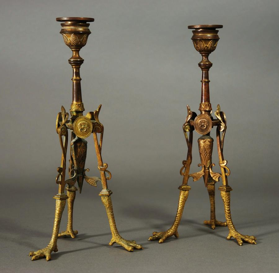 Pair of candlesticks in an Egyptian style