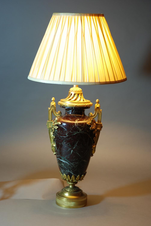 Large marble & ormolu table lamp