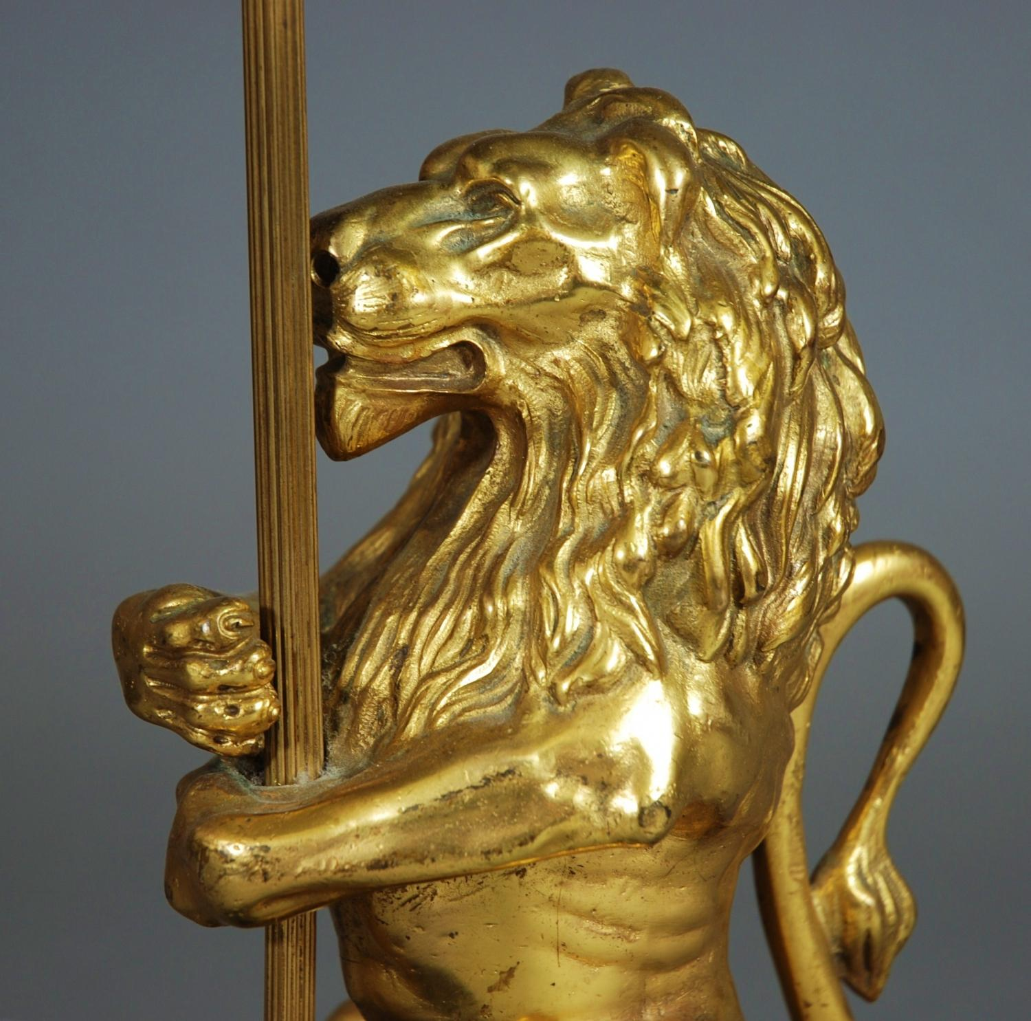 Decorative ormolu lion lamp