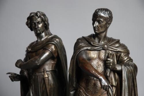 Pair of large Classical spelter figures