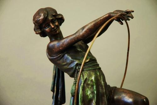 French Art Deco spelter figure of hoop girl