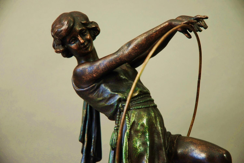 French Art Deco spelter figure of hoop girl