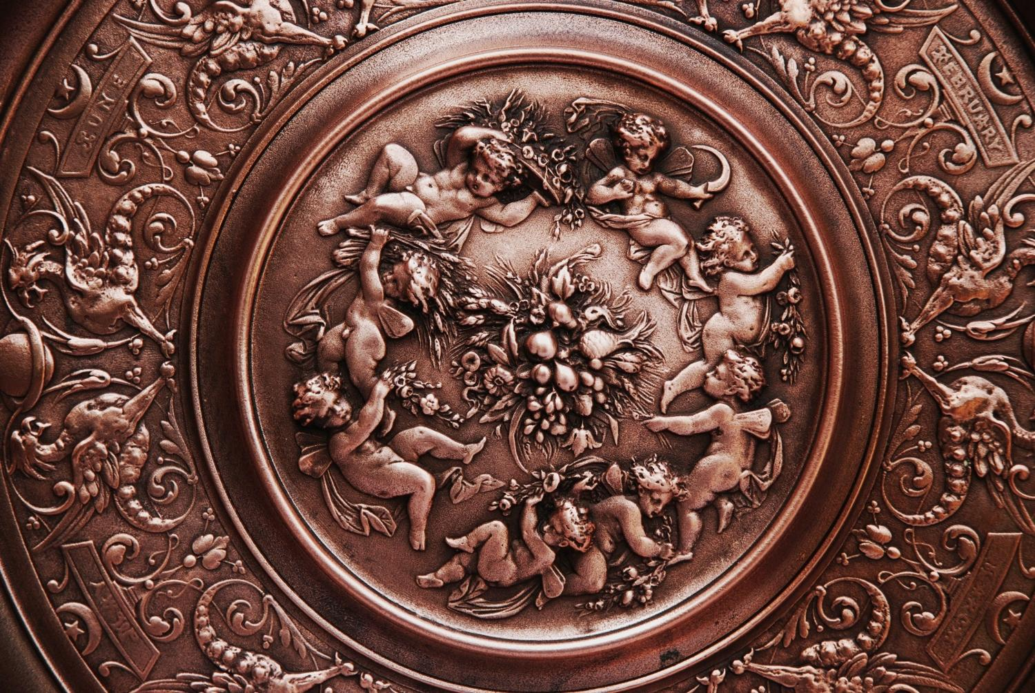 Late 19thc decorative copper charger