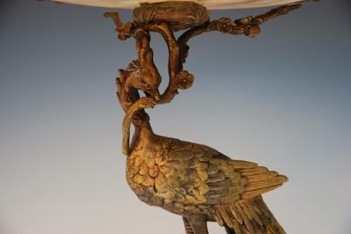 19thc French ormolu tazza of peacock