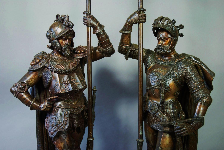Pair of French speltre warriors