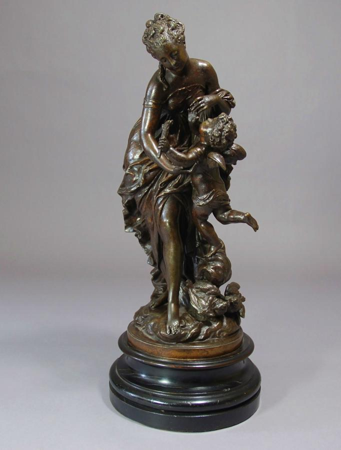 19thc cast spelter figure of Venus & Cupid