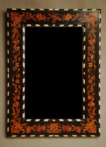19thc fine quality English marquetry mirror