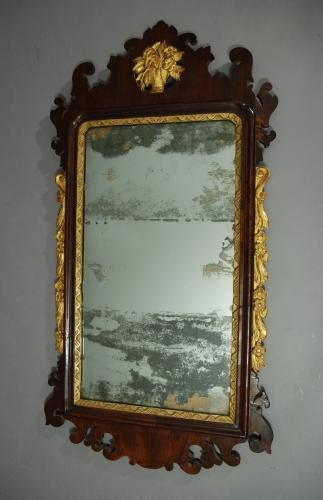 George II red walnut & parcel-gilt mirror