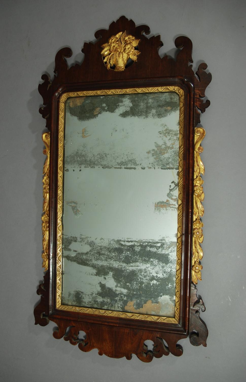 George II red walnut & parcel-gilt mirror