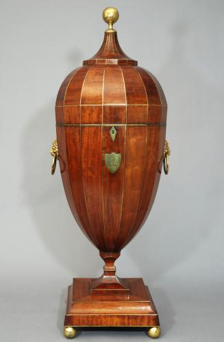 Superb large mahogany cutlery urn