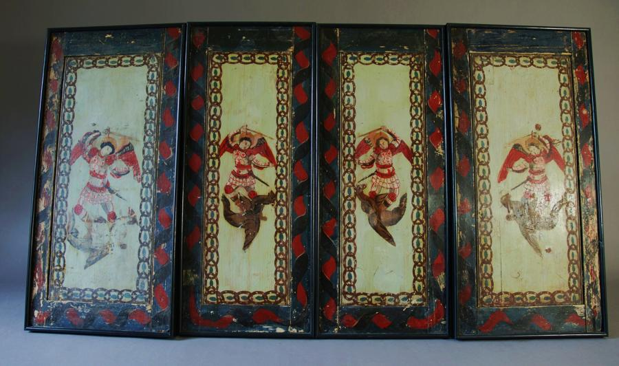 Late 18th century set of twelve wooden painted panels