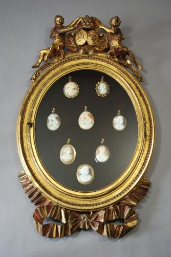 19thc carved & gilded hanging display case