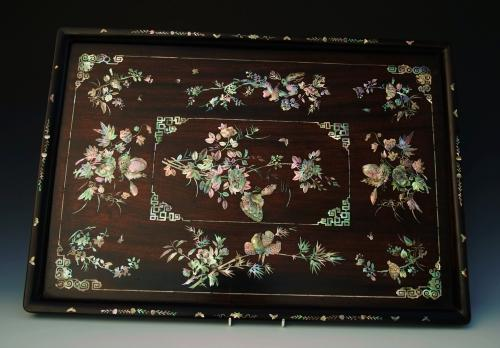 Superb quality 19thc Vietnamese hardwood inlaid tray