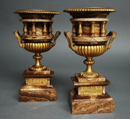 Pair fine quality brown onyx & ormolu urns