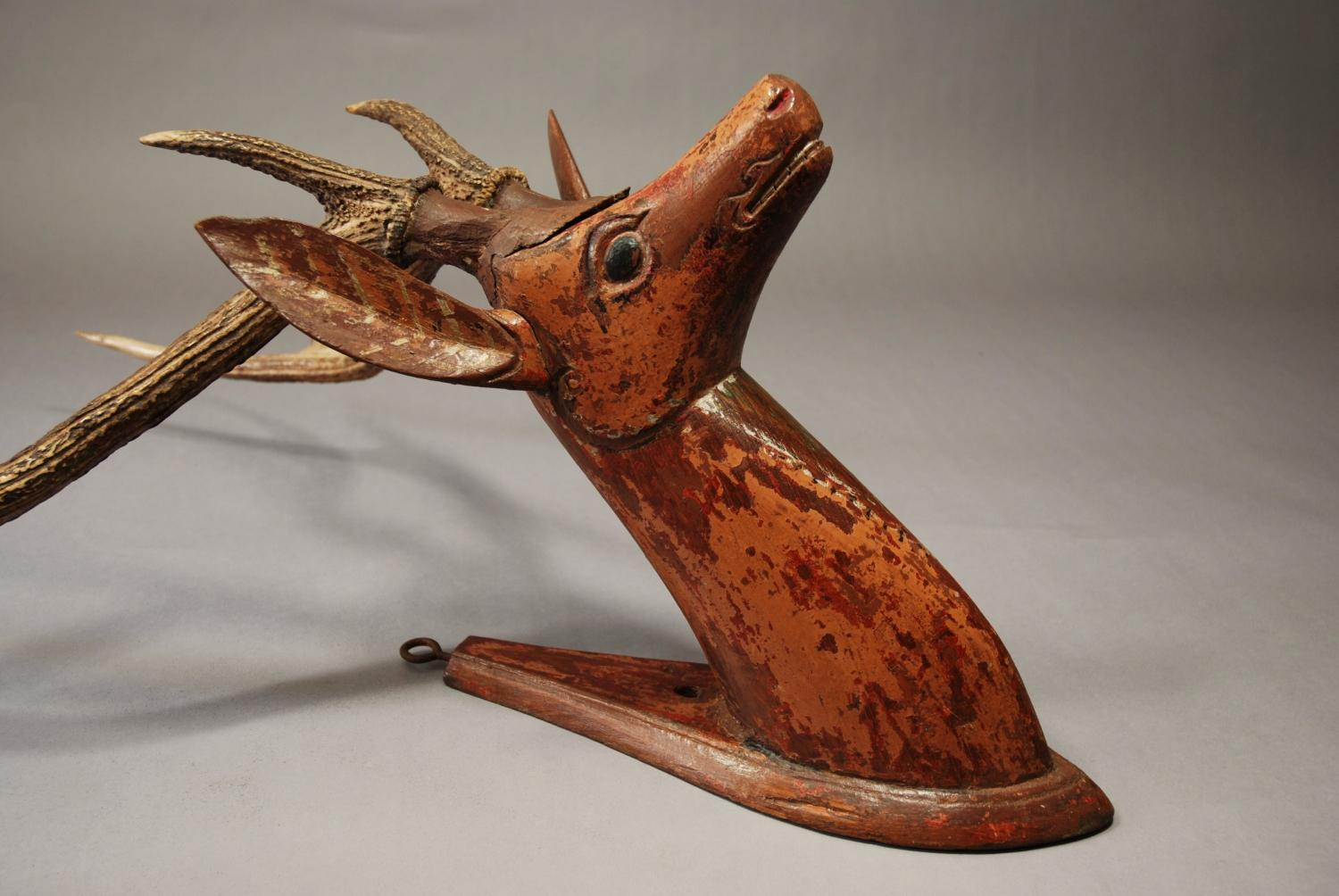 19thc Folk Art carved wooden stags head