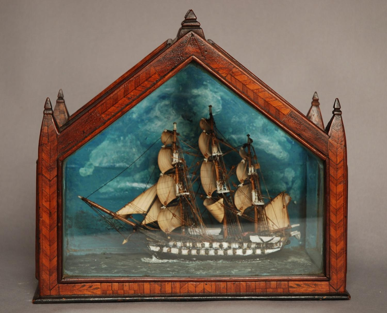 19thc Folk Art Diorama of model galleon
