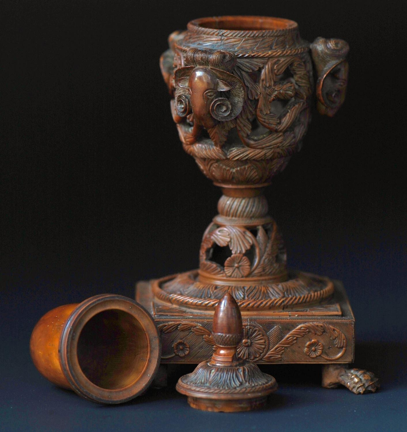 Carved Coquilla nut inkwell