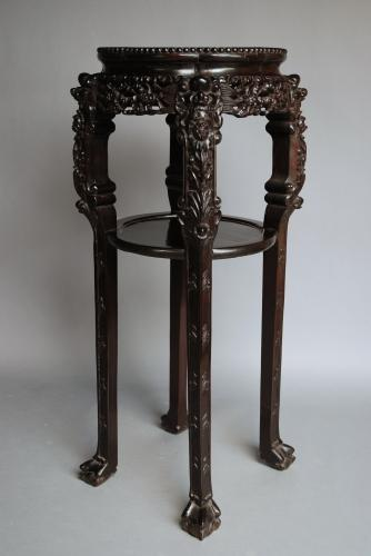 Late 19thc Chinese hardwood pot stand