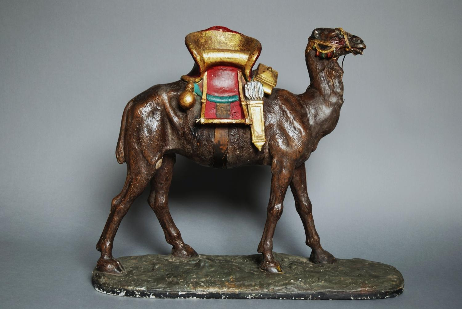Late 19thc painted plaster camel