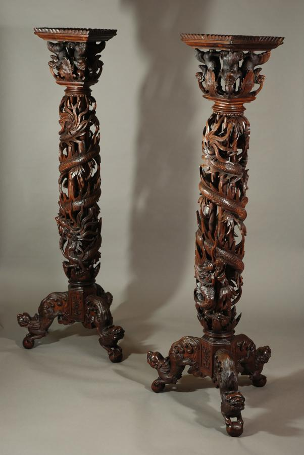 Pair of large decorative Chinese stands