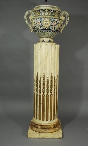 Early 20thc painted marbled column