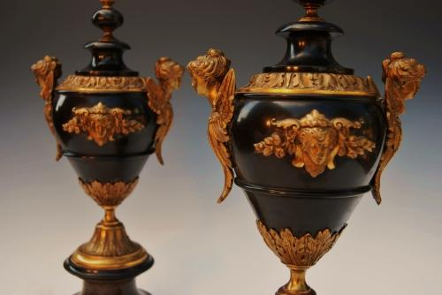 19thc pair of slate & ormolu garnitures