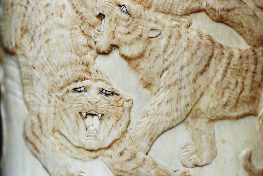 Meiji period carved ivory brush pot