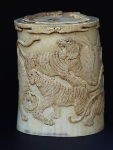 Meiji period carved ivory brush pot