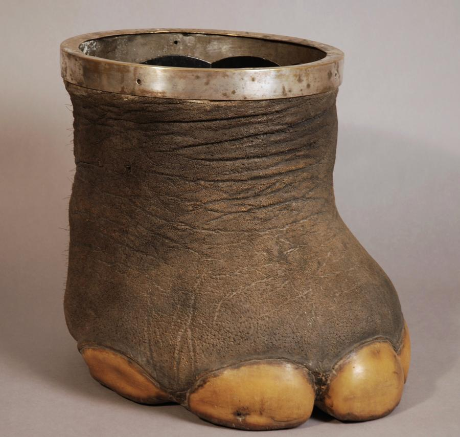 Victorian elephant foot with metal rim