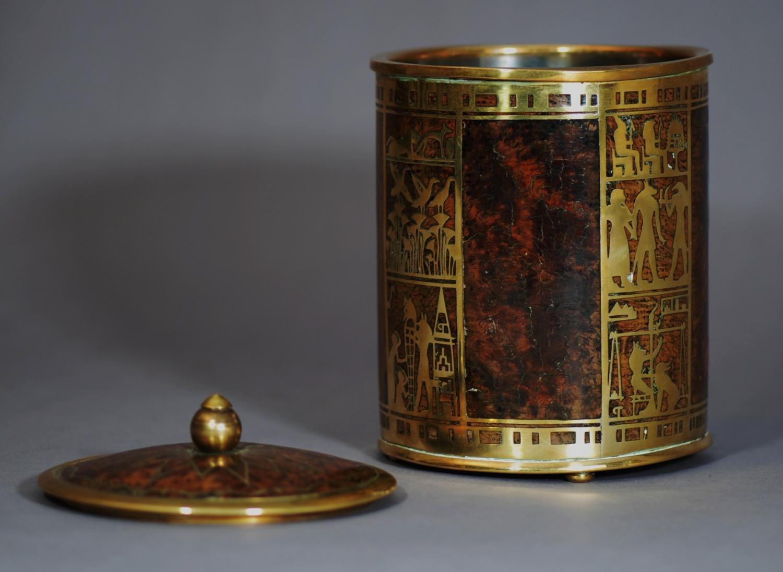 Egyptian style brass & burr oak canister