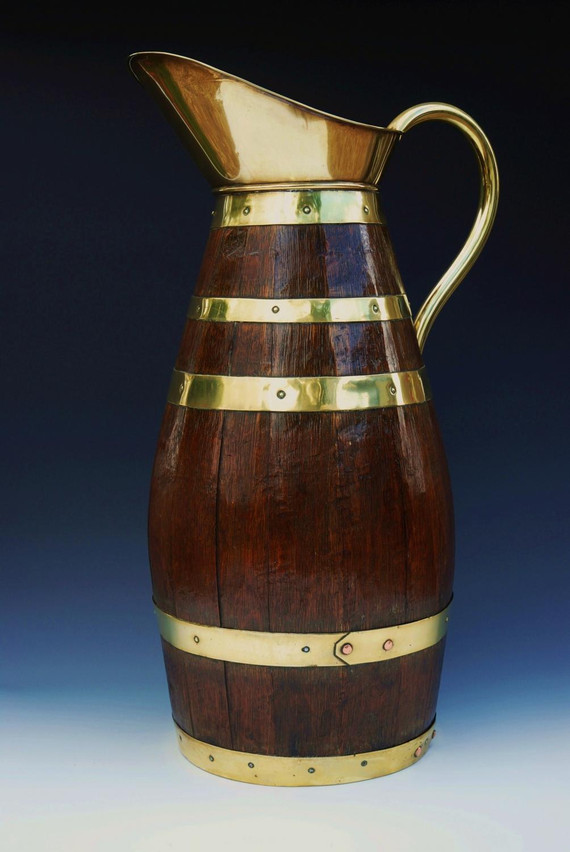 Large oak & brassbound jug