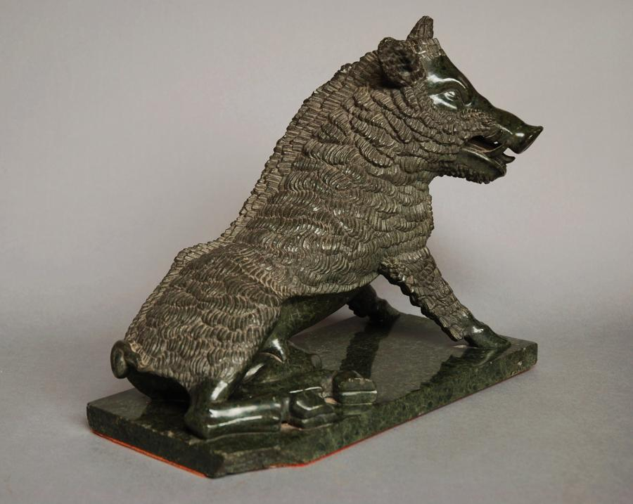 19thc Italian serpentine figure of a boar