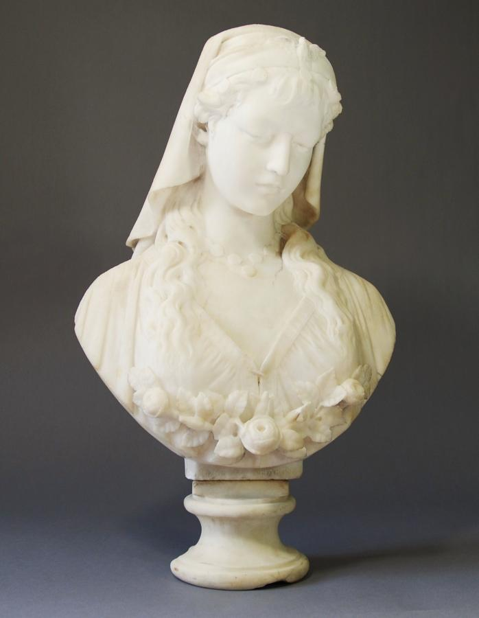 19thc alabaster bust, 'Rose of Sharon'