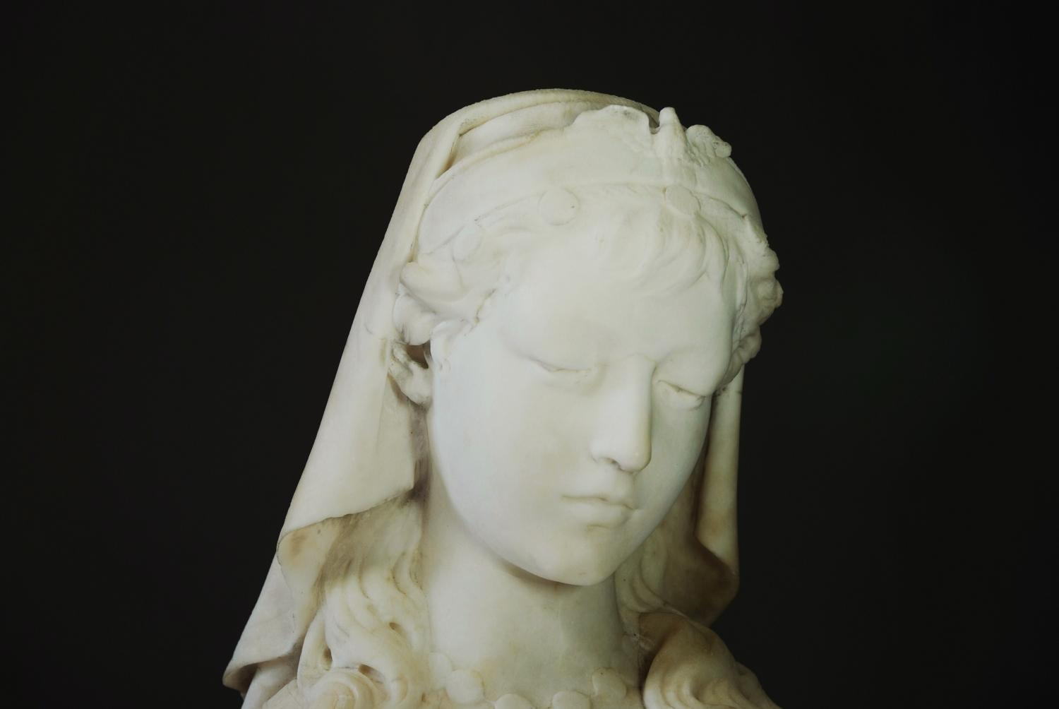 19thc alabaster bust, 'Rose of Sharon'