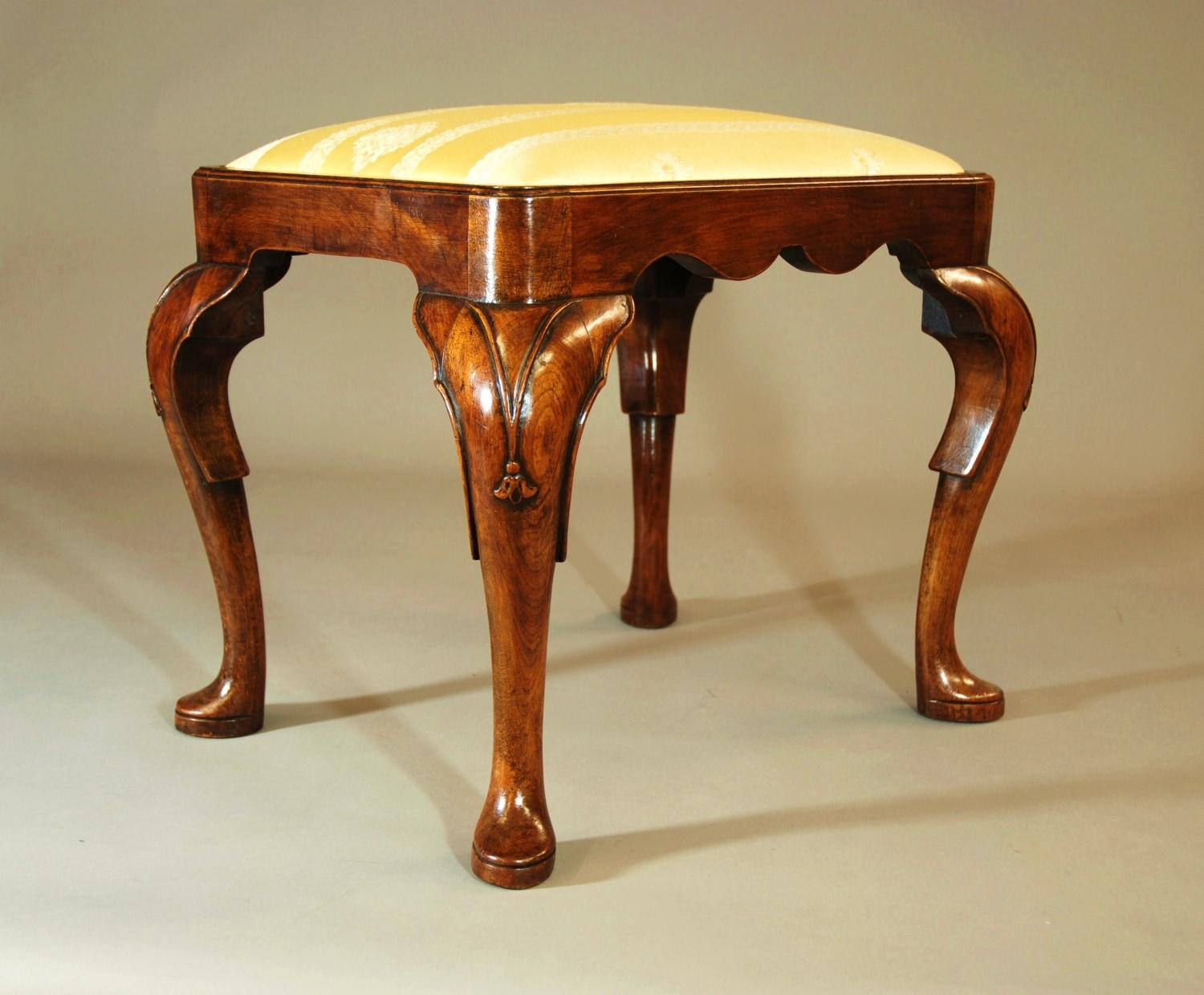 Early 20thc walnut cabriole leg stool