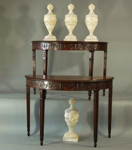 Superb pair of mahogany console tables