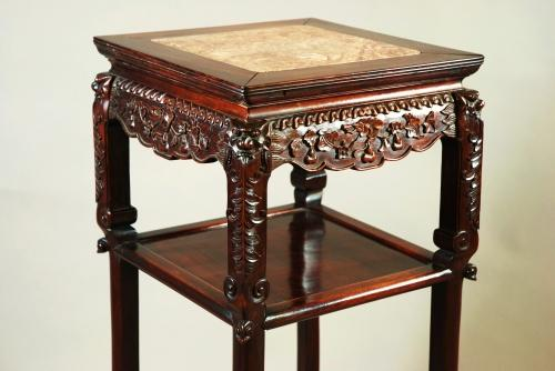 Late 19thc square Chinese pot stand