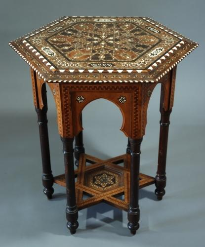 Hexagonal inlaid Moorish work table