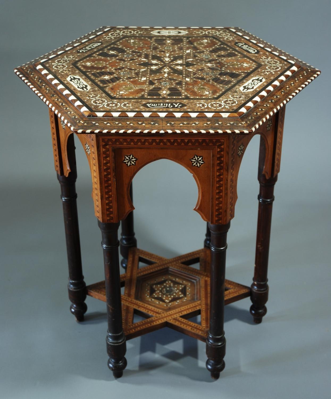 Hexagonal inlaid Moorish work table