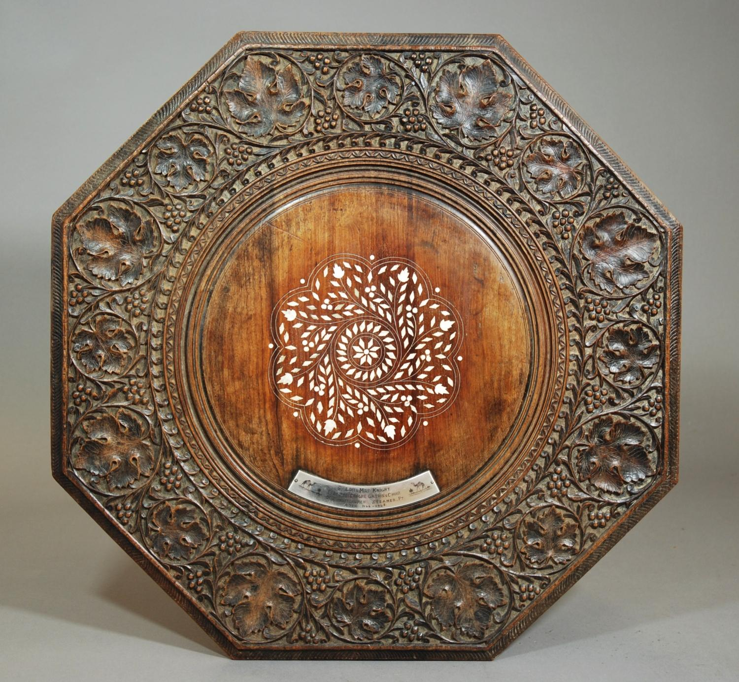 Eastern carved & inlaid octagonal table