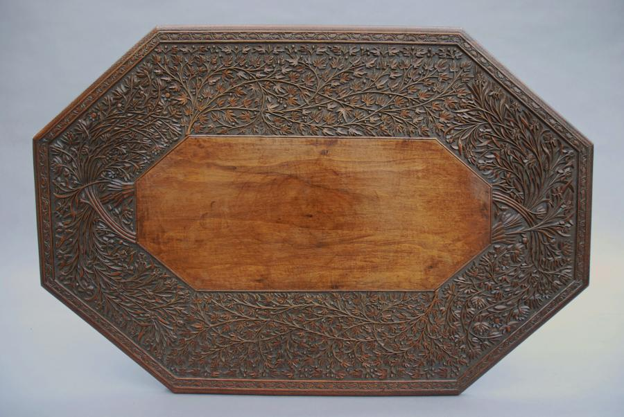 19thc Anglo-Indian carved table