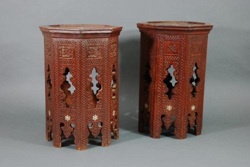 Pair of Islamic octagonal low tables