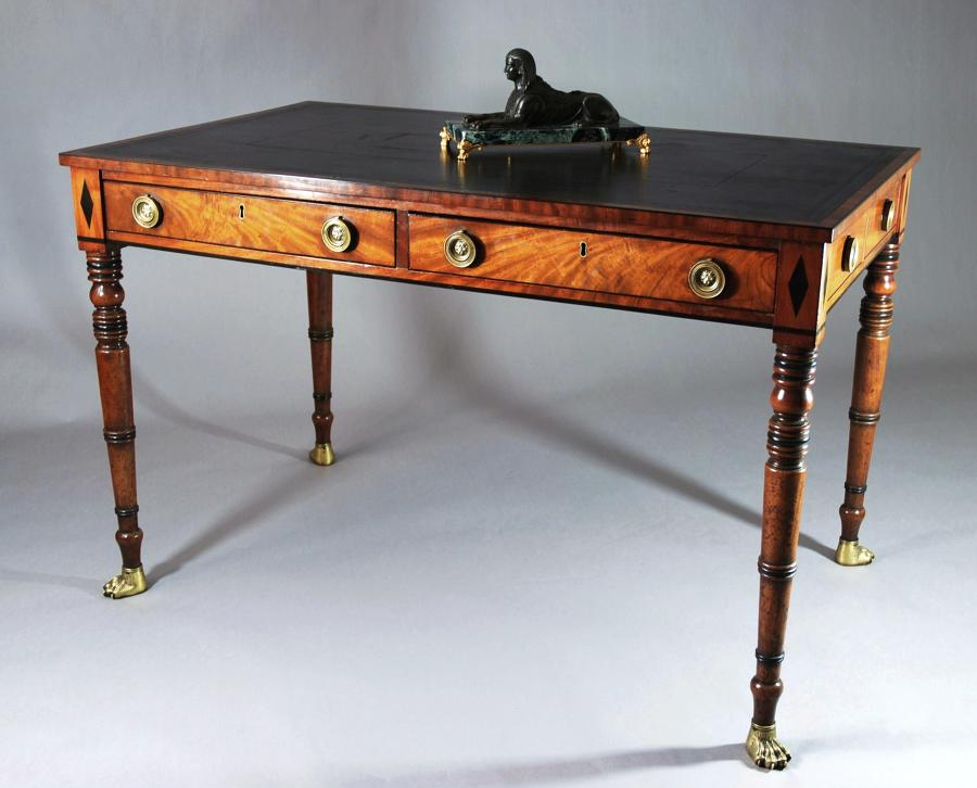 Regency two drawer mahogany writing table