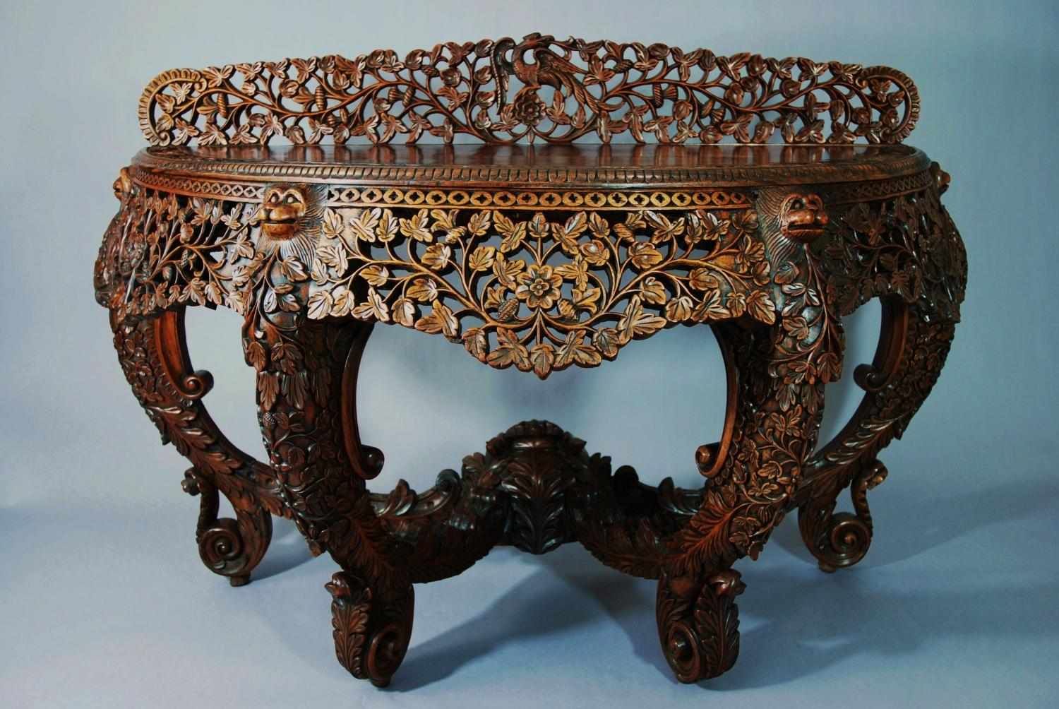 Anglo Indian carved rosewood console table