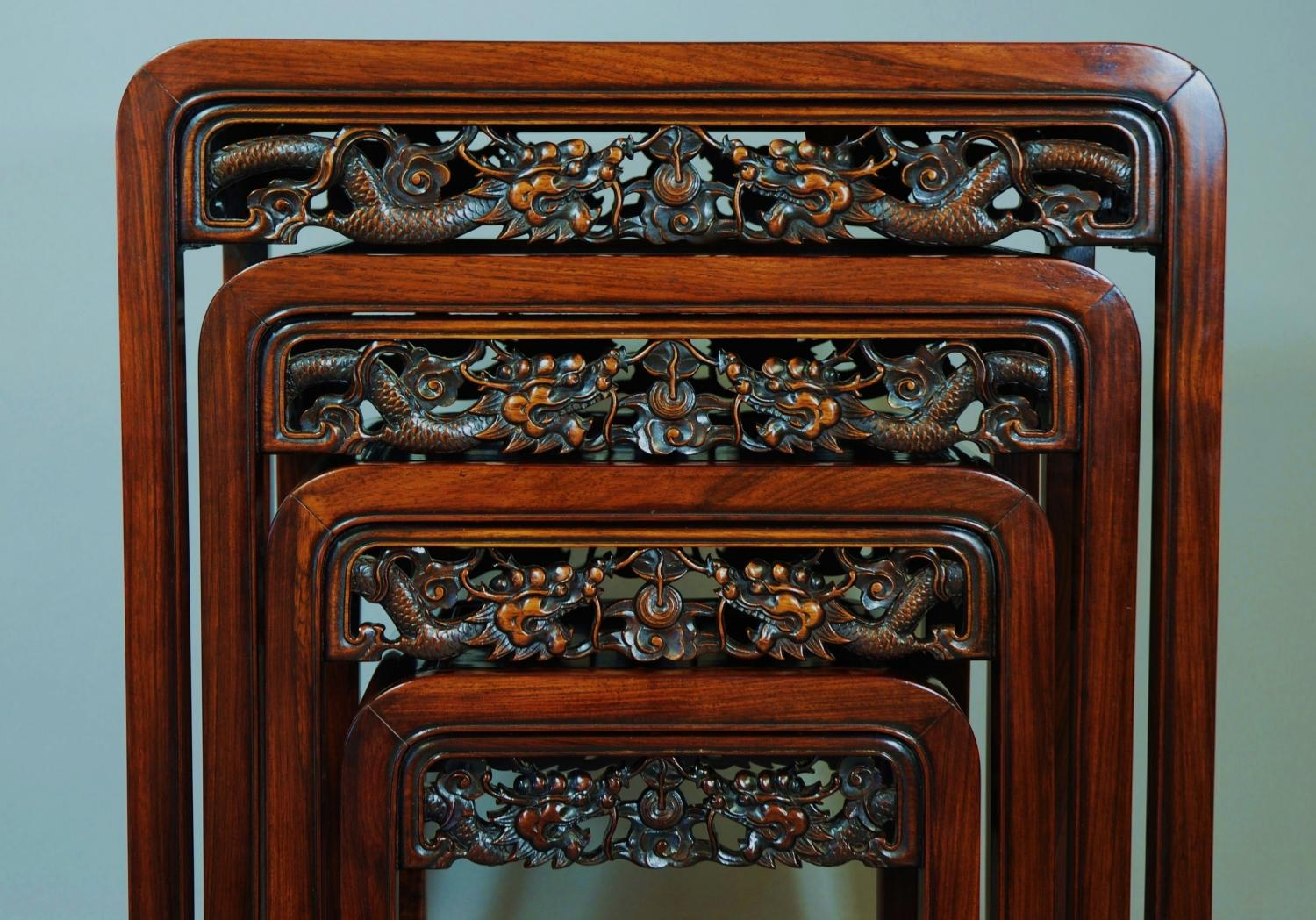 Chinese hardwood quartetto nest of tables