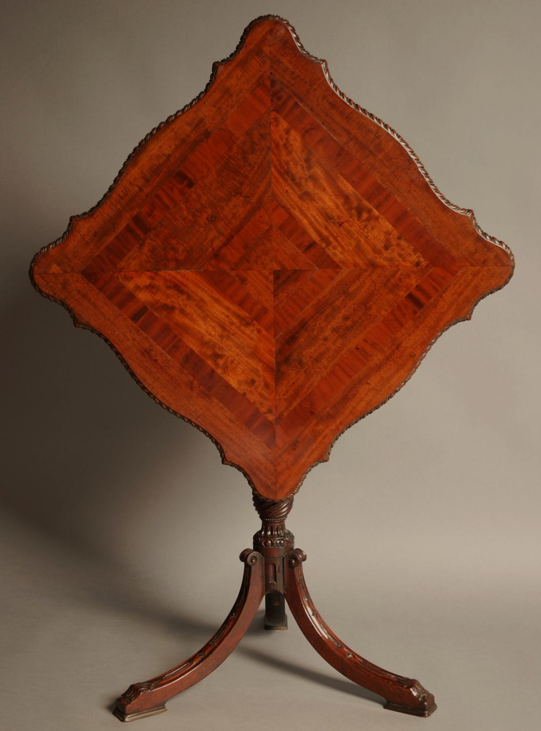 Late 19thc mahogany tilt top table of superb