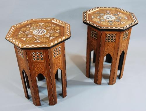 A near pair of Liberty & Co. coffee stools